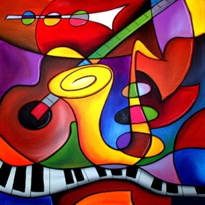 2-panels-set-Canvas-painting-canvas-art-Oil-Painting-abstract-colorful-music-instruments-wall-pictures-home